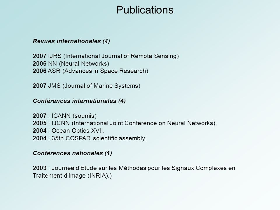 Publications Revues internationales (4)