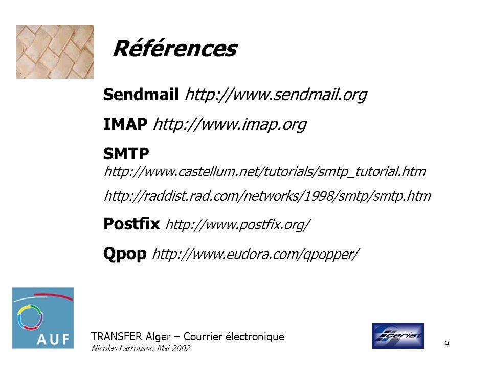 Références Sendmail http://www.sendmail.org IMAP http://www.imap.org