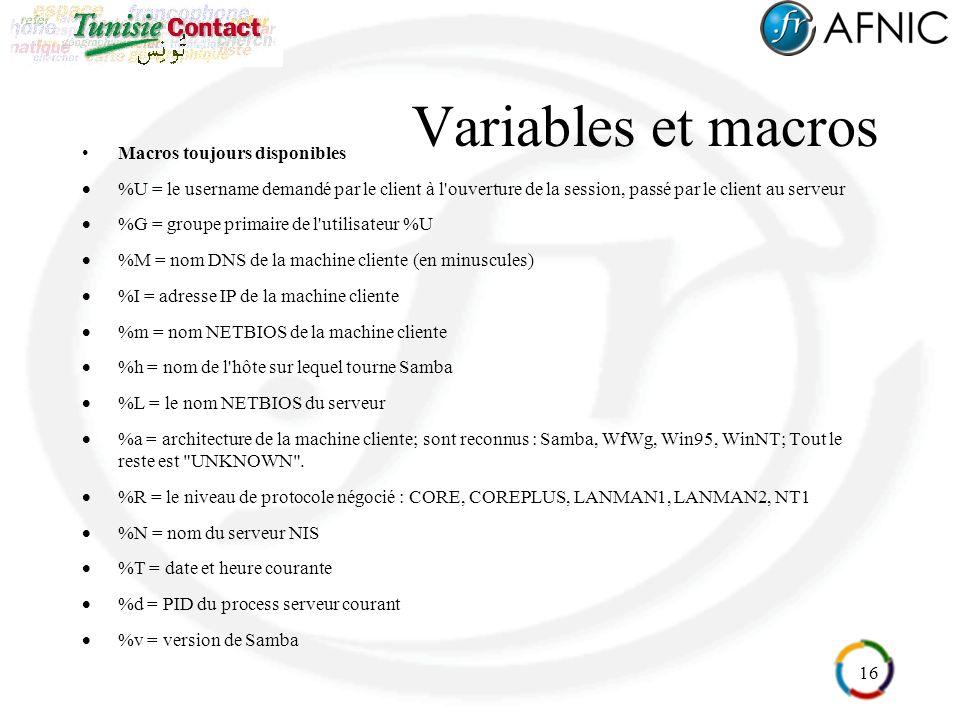 Variables et macros Macros toujours disponibles