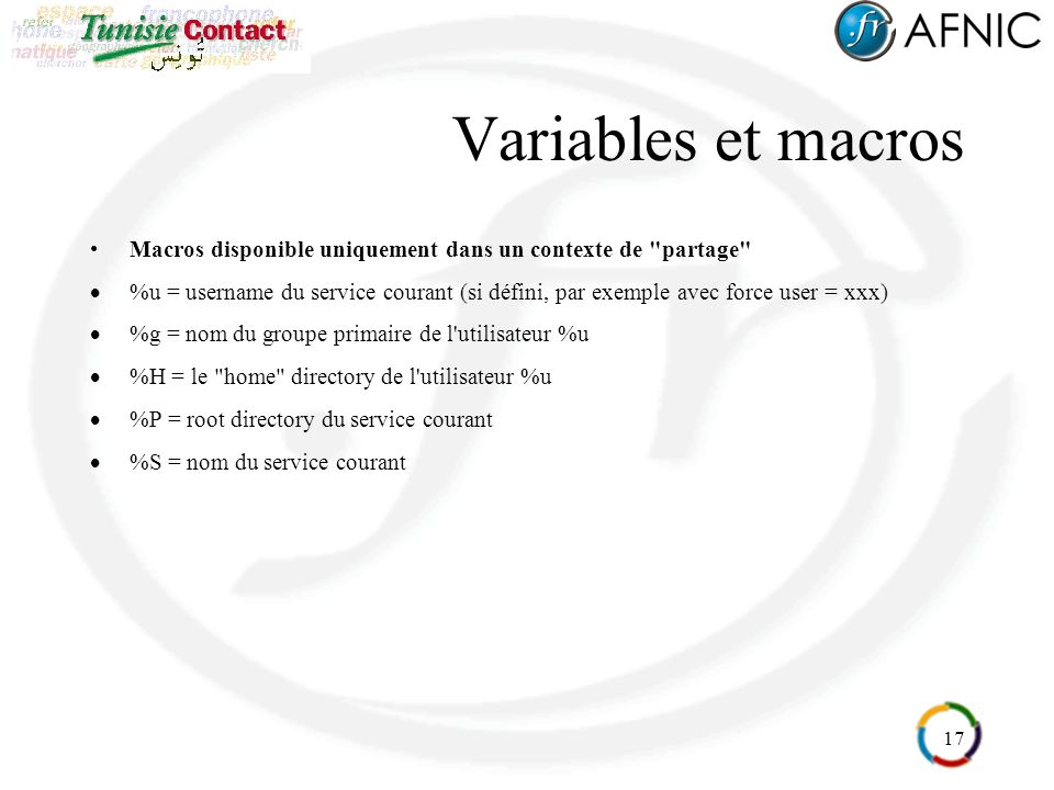 Variables et macros Macros disponible uniquement dans un contexte de partage