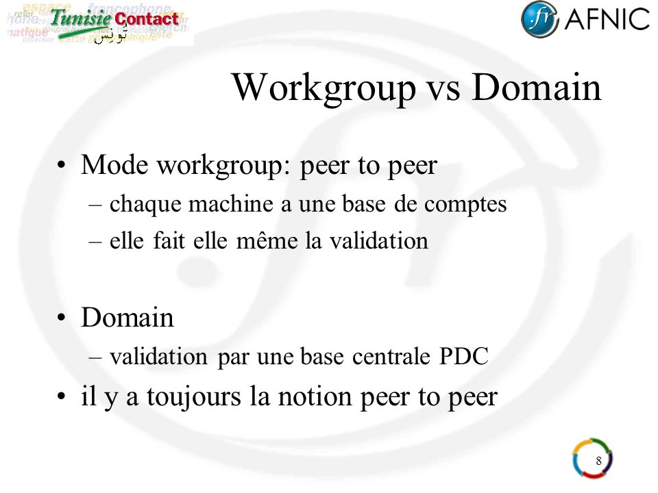Workgroup vs Domain Mode workgroup: peer to peer Domain