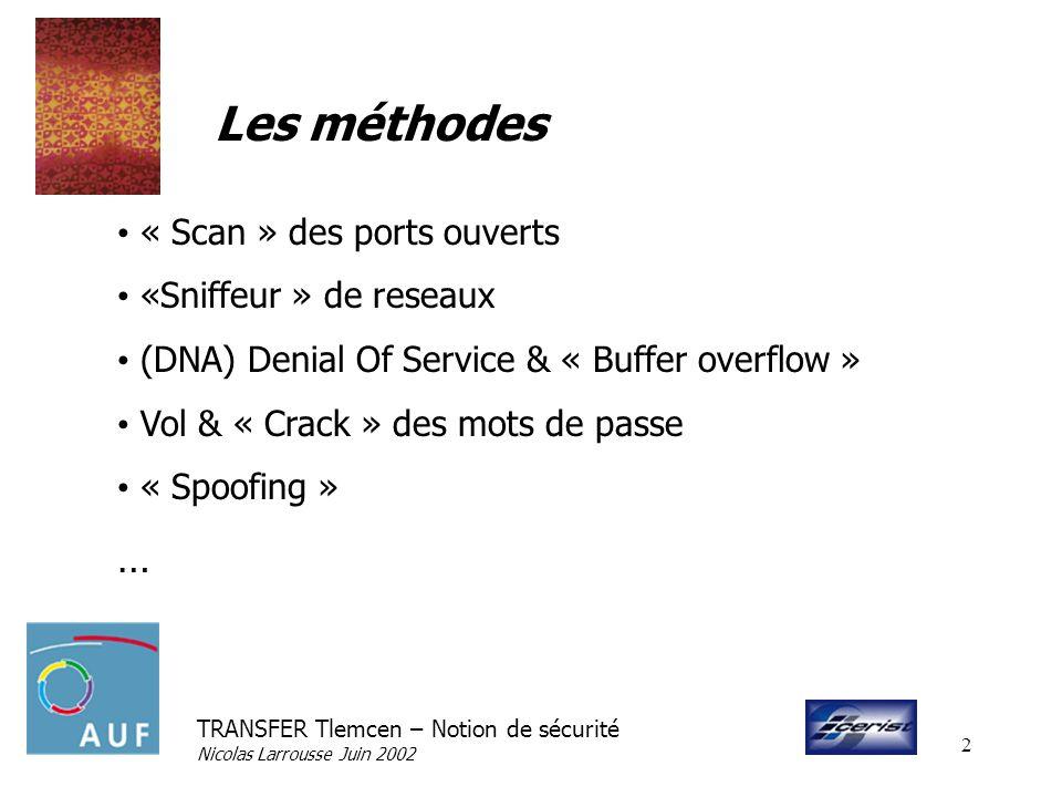 Les méthodes … « Scan » des ports ouverts «Sniffeur » de reseaux