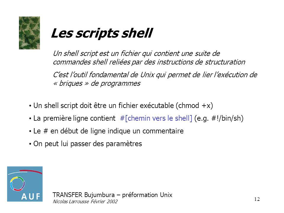 Les scripts shellUn shell script est un fichier qui contient une suite de commandes shell reliées par des instructions de structuration.
