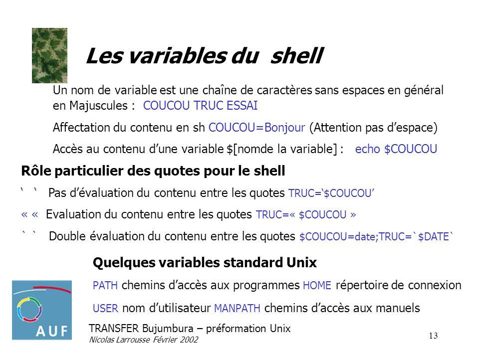 Les variables du shell Rôle particulier des quotes pour le shell