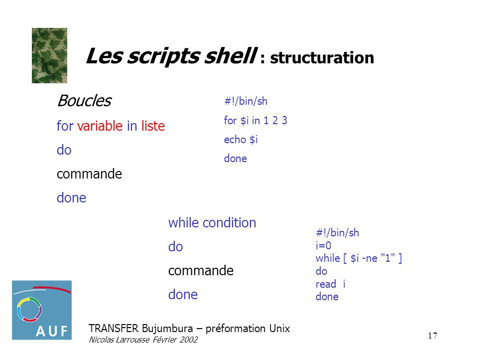 Les scripts shell : structuration