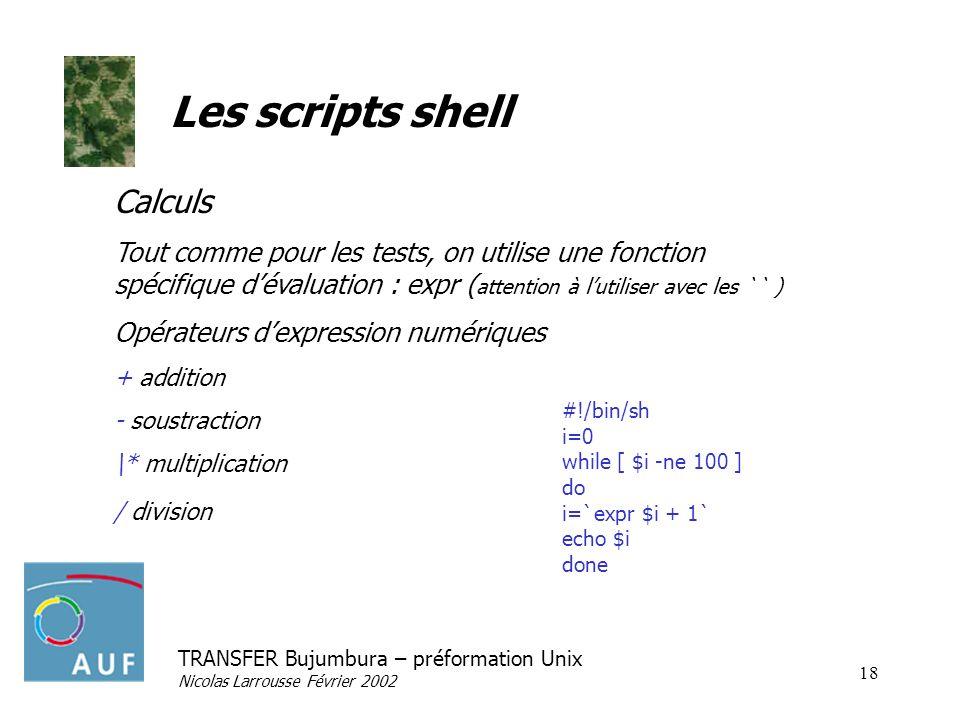 Les scripts shell Calculs