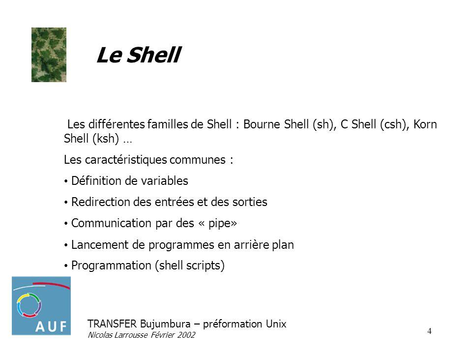Le Shell Les différentes familles de Shell : Bourne Shell (sh), C Shell (csh), Korn Shell (ksh) … Les caractéristiques communes :