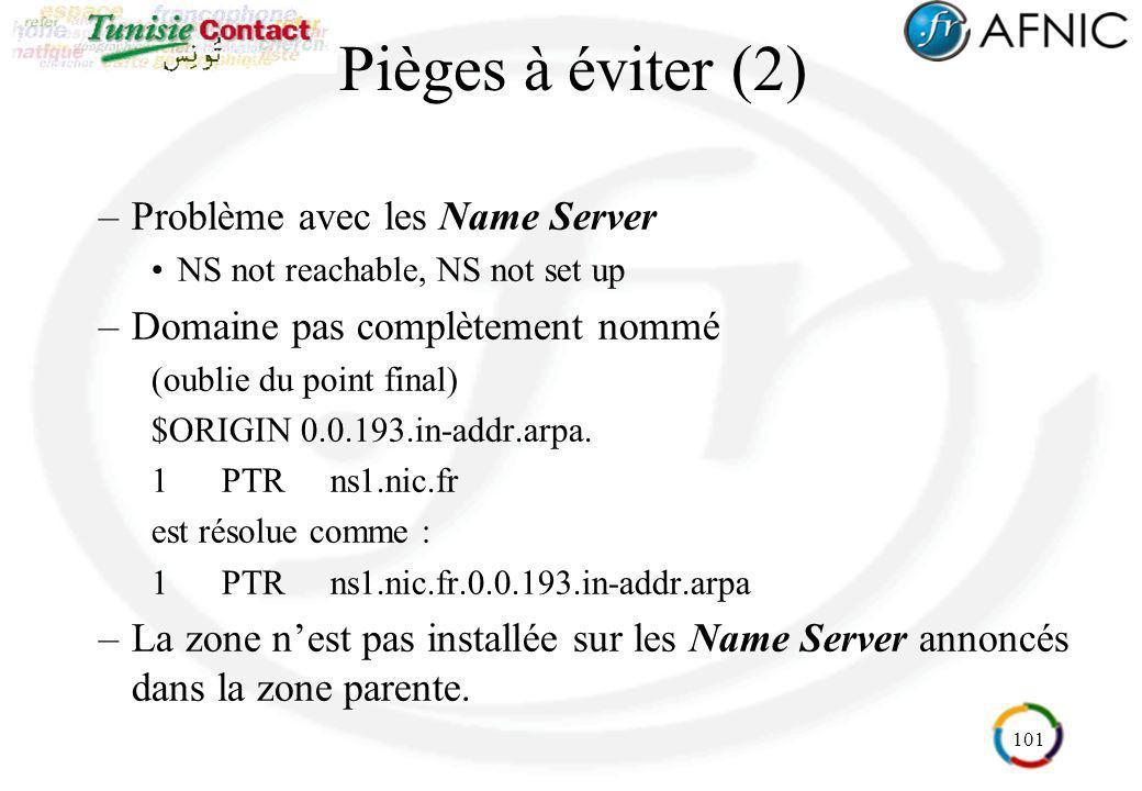 Pièges à éviter (2) Problème avec les Name Server