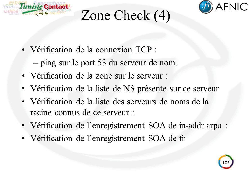 Zone Check (4) Vérification de la connexion TCP :