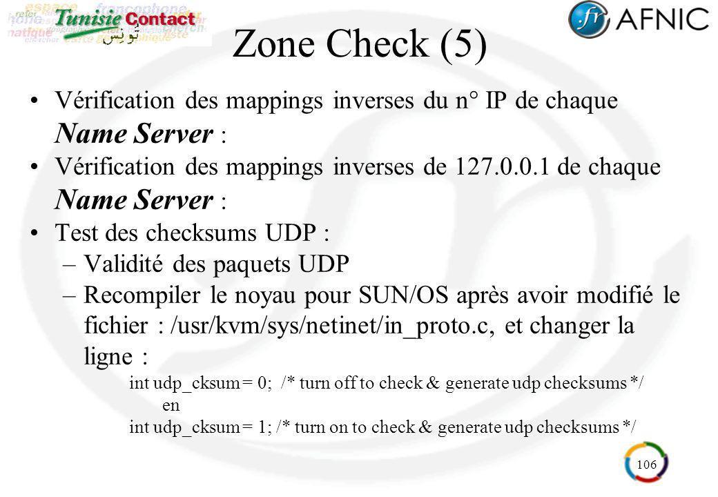 Zone Check (5) Vérification des mappings inverses du n° IP de chaque Name Server :