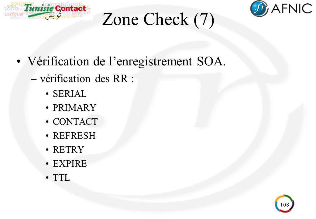 Zone Check (7) Vérification de l'enregistrement SOA.