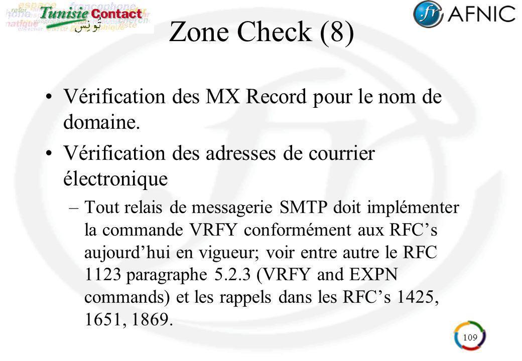 Zone Check (8) Vérification des MX Record pour le nom de domaine.