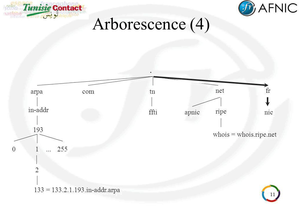 Arborescence (4) . fr net arpa ripe whois = whois.ripe.net in-addr 193
