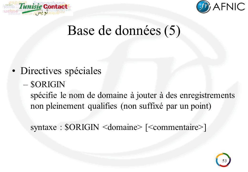 Base de données (5) Directives spéciales
