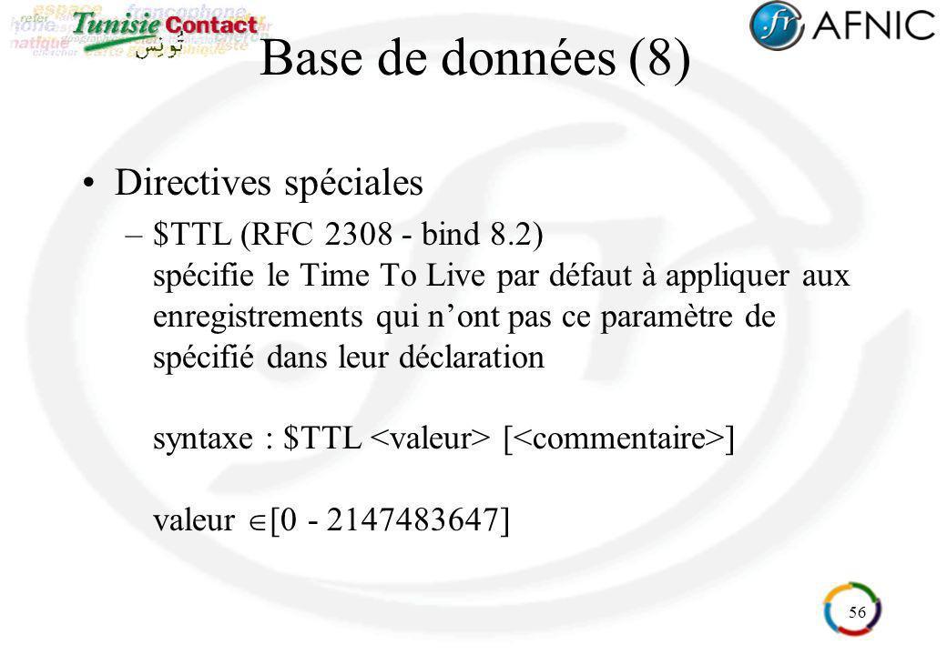 Base de données (8) Directives spéciales