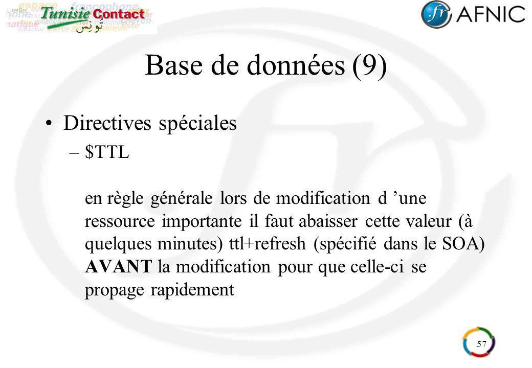 Base de données (9) Directives spéciales