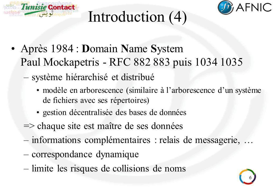 Introduction (4) Après 1984 : Domain Name System Paul Mockapetris - RFC 882 883 puis 1034 1035. système hiérarchisé et distribué.