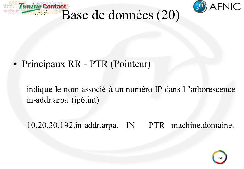 Base de données (20) Principaux RR - PTR (Pointeur)