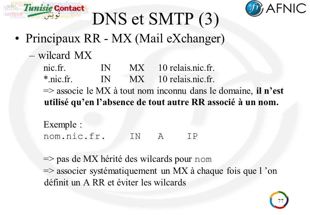 DNS et SMTP (3) Principaux RR - MX (Mail eXchanger) wilcard MX