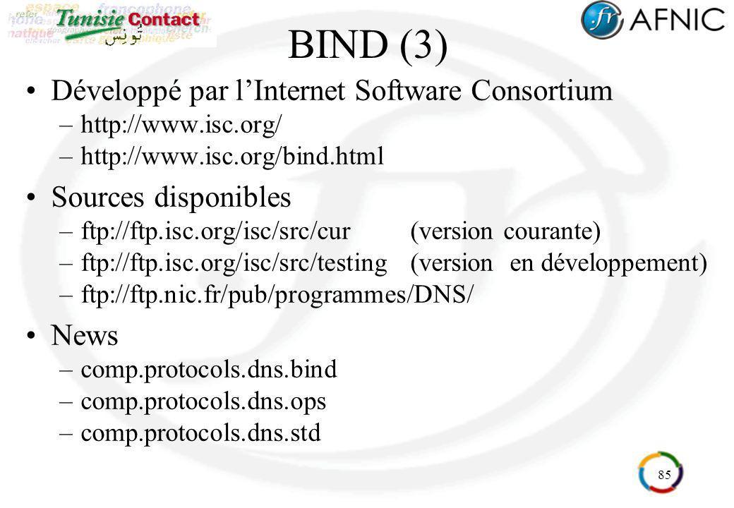 BIND (3) Développé par l'Internet Software Consortium