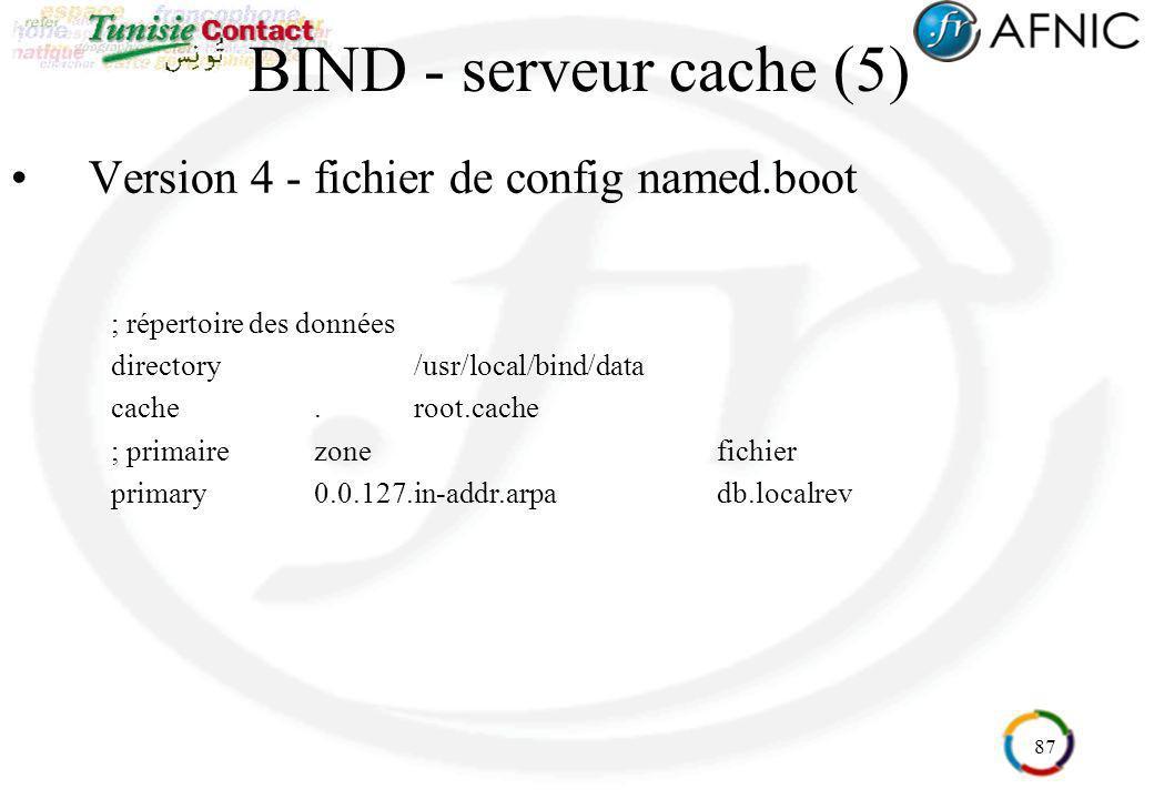 BIND - serveur cache (5) Version 4 - fichier de config named.boot