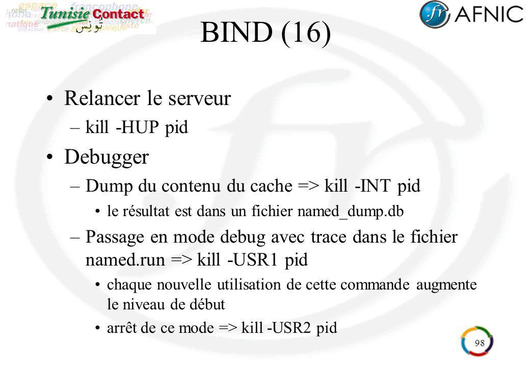 BIND (16) Relancer le serveur Debugger kill -HUP pid
