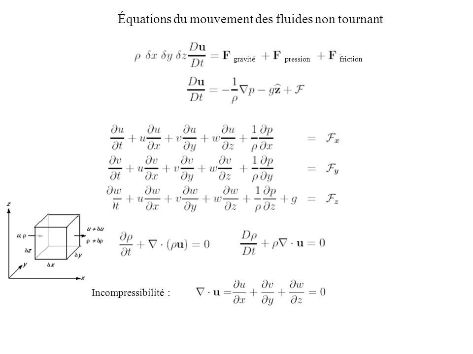 Équations du mouvement des fluides non tournant