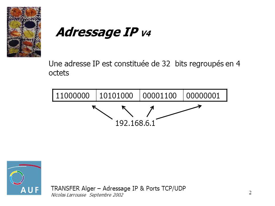 Adressage IP V4 Une adresse IP est constituée de 32 bits regroupés en 4 octets. 11000000. 10101000.