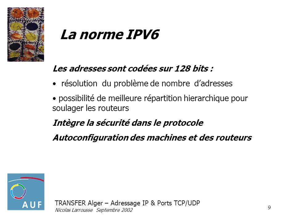 La norme IPV6 Les adresses sont codées sur 128 bits :