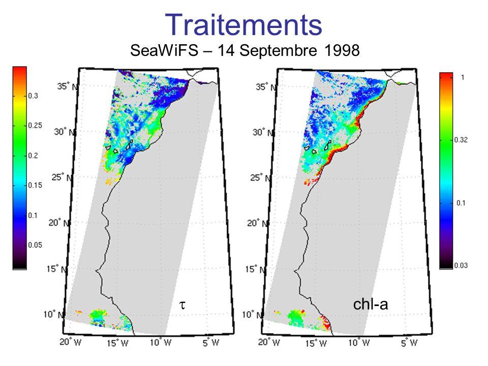 Traitements SeaWiFS – 14 Septembre 1998 Expliquer les échelles t chl-a