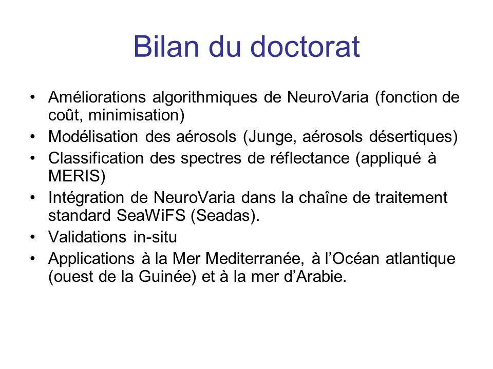 Bilan du doctorat Améliorations algorithmiques de NeuroVaria (fonction de coût, minimisation)
