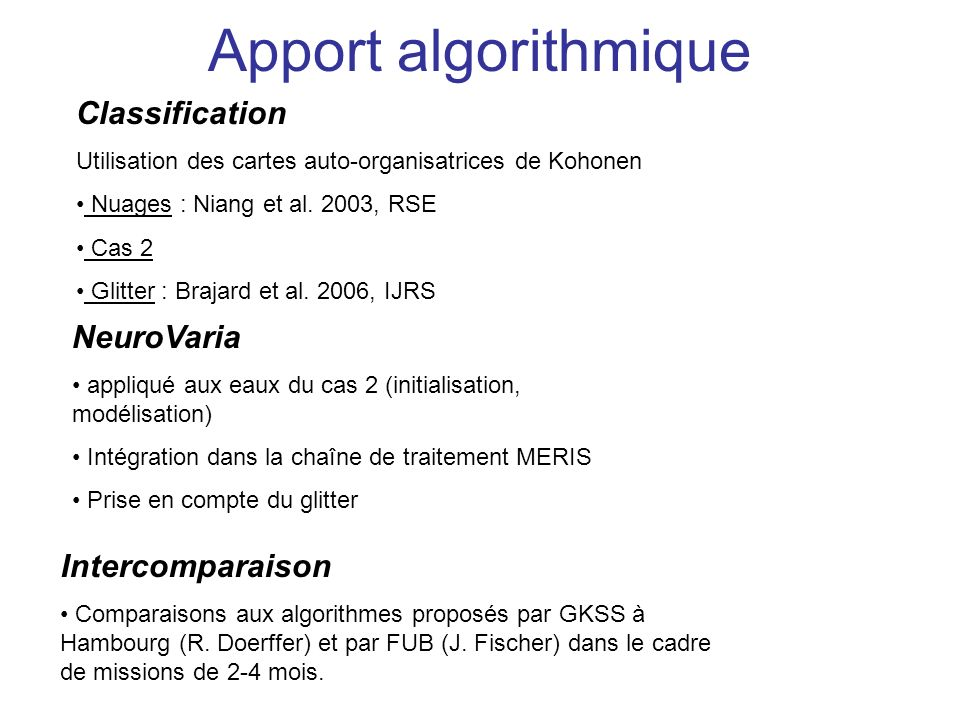 Apport algorithmique Classification NeuroVaria Intercomparaison