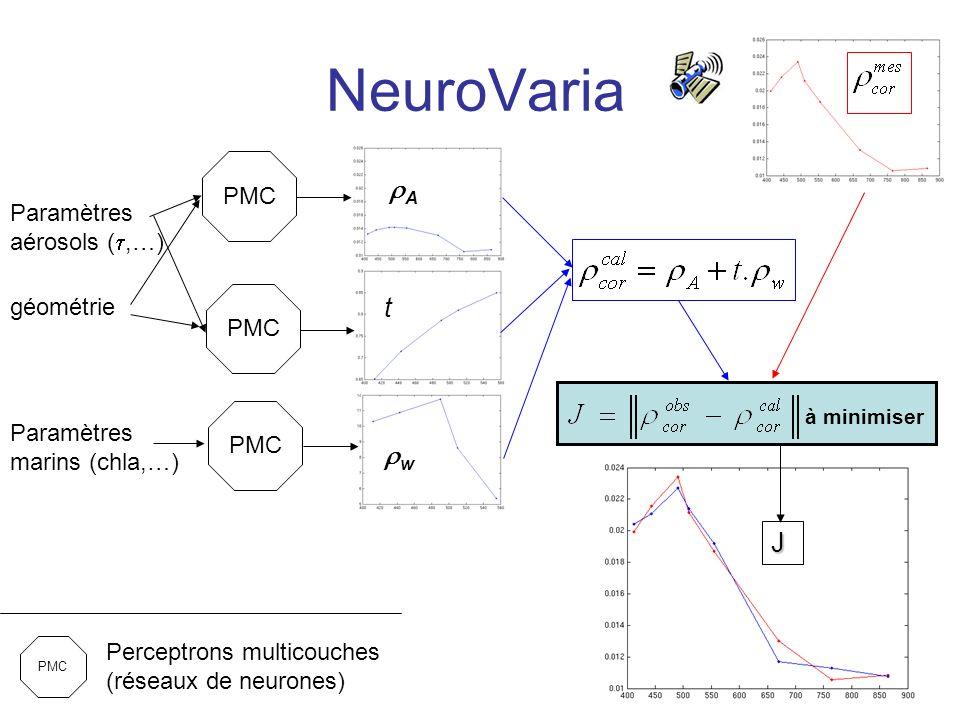NeuroVaria rA t rw J PMC Paramètres aérosols (t,…) géométrie PMC
