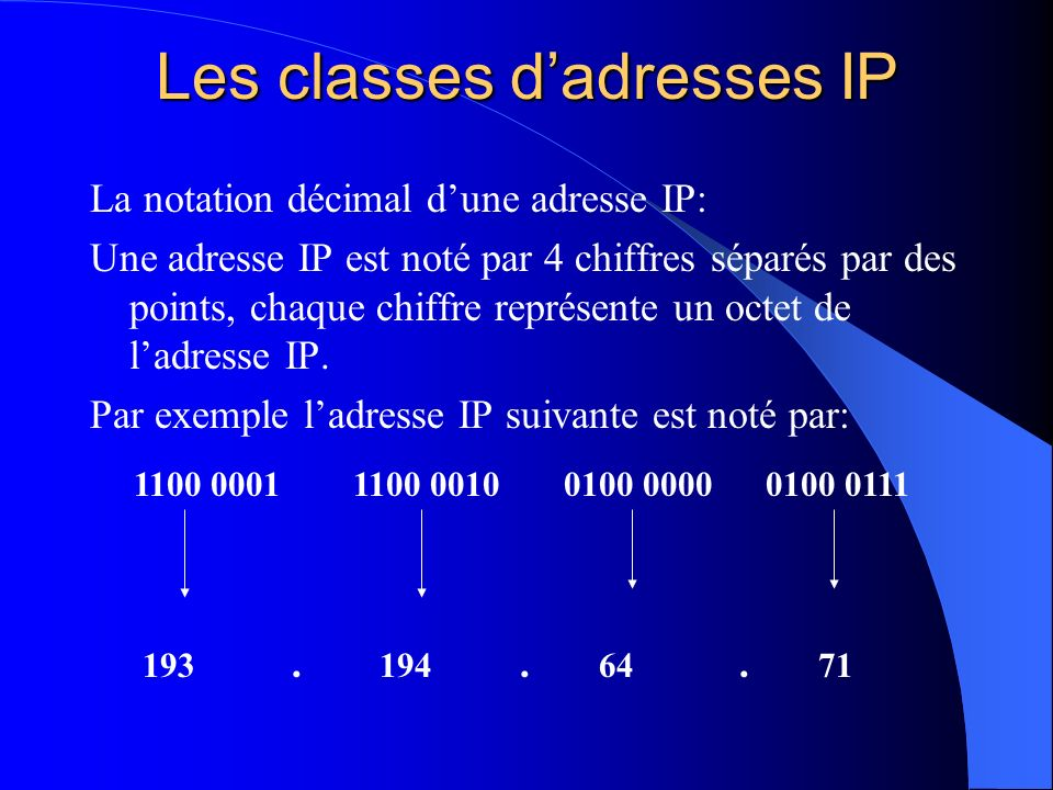 Les classes d'adresses IP