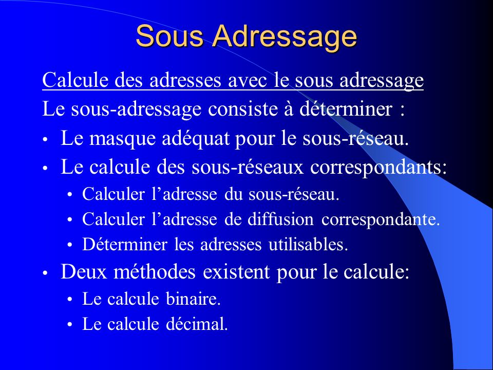 Sous Adressage Calcule des adresses avec le sous adressage