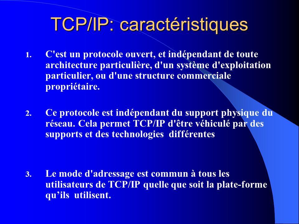 TCP/IP: caractéristiques