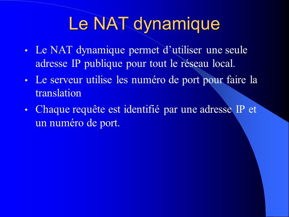Le NAT dynamique Le NAT dynamique permet d'utiliser une seule adresse IP publique pour tout le réseau local.