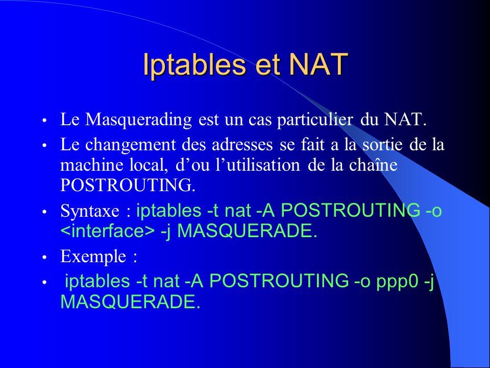 Iptables et NAT Le Masquerading est un cas particulier du NAT.