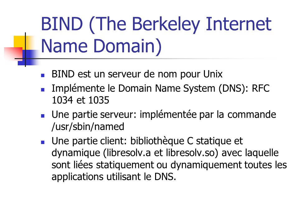 BIND (The Berkeley Internet Name Domain)