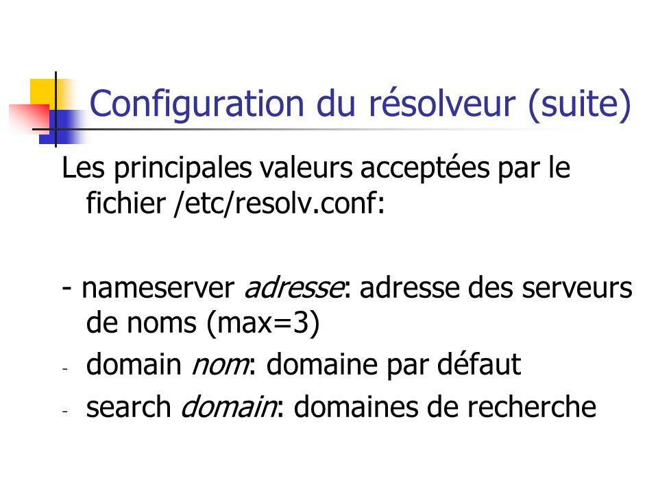 Configuration du résolveur (suite)
