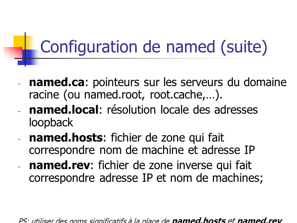 Configuration de named (suite)