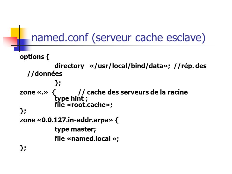 named.conf (serveur cache esclave)