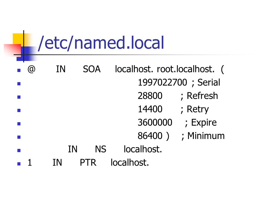 /etc/named.local @ IN SOA localhost. root.localhost. (