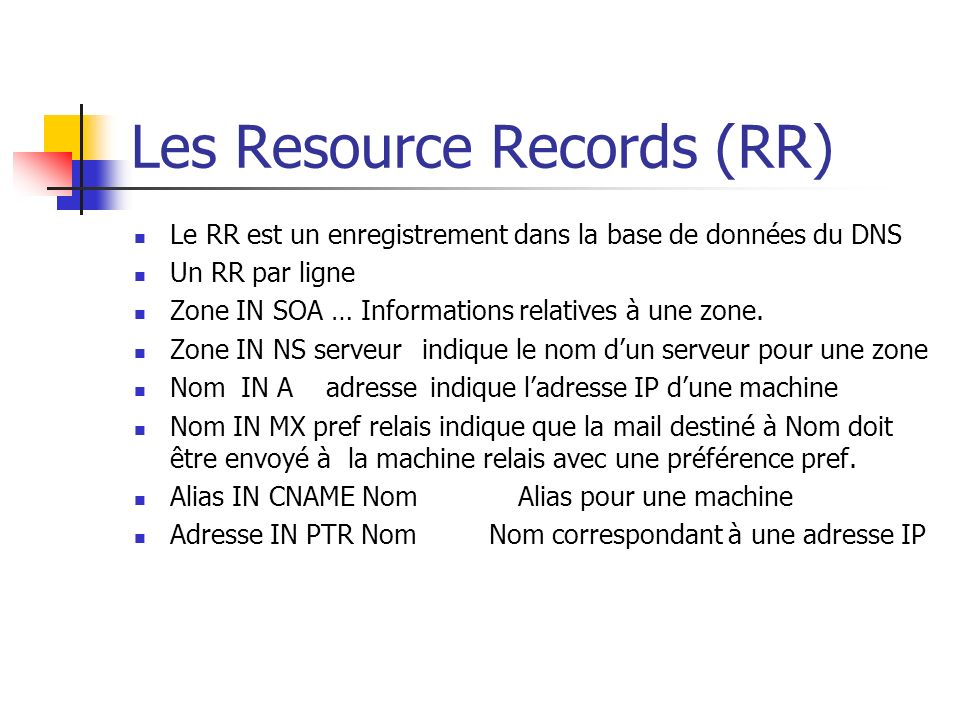 Les Resource Records (RR)