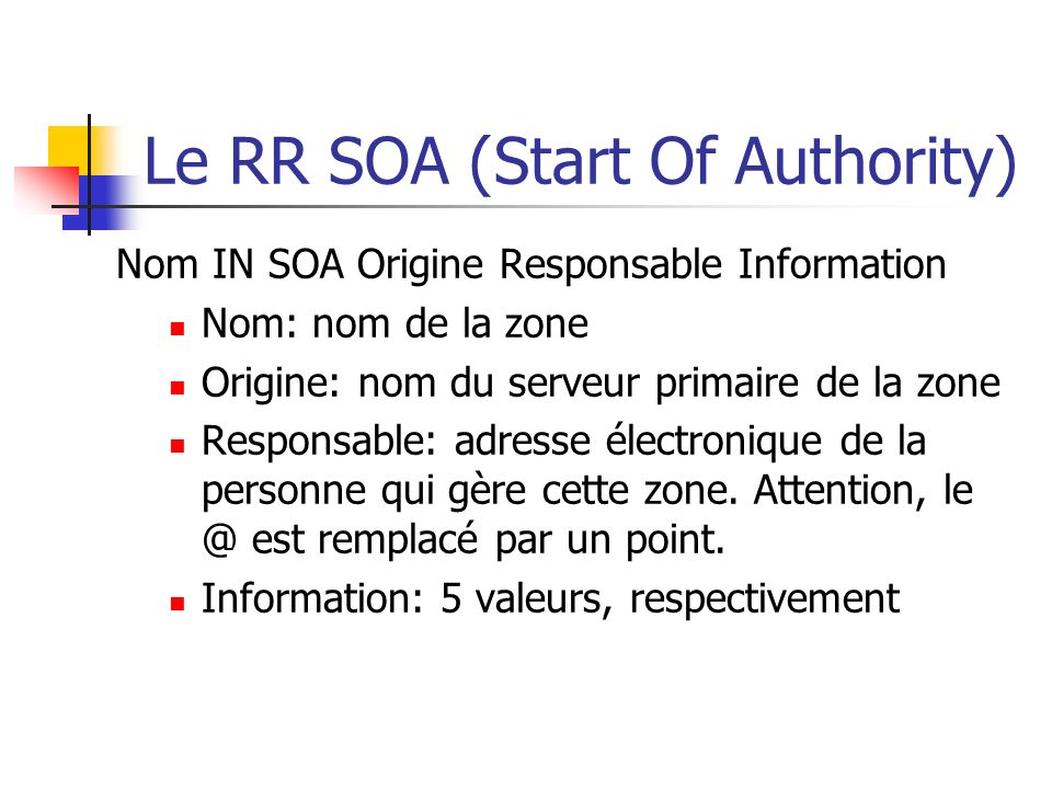 Le RR SOA (Start Of Authority)