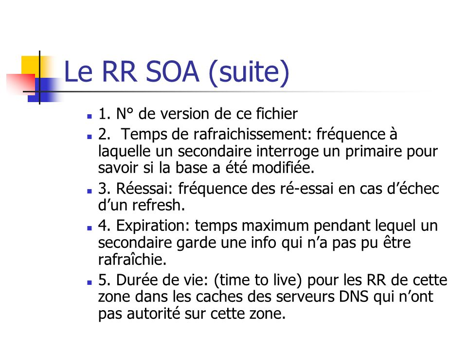 Le RR SOA (suite) 1. N° de version de ce fichier