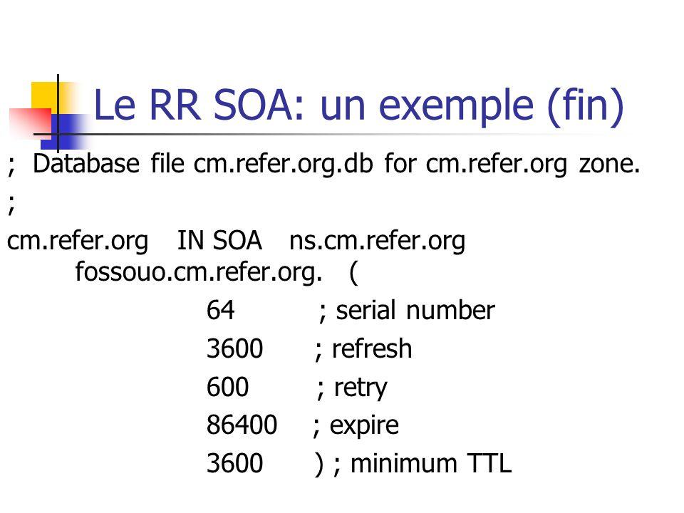 Le RR SOA: un exemple (fin)