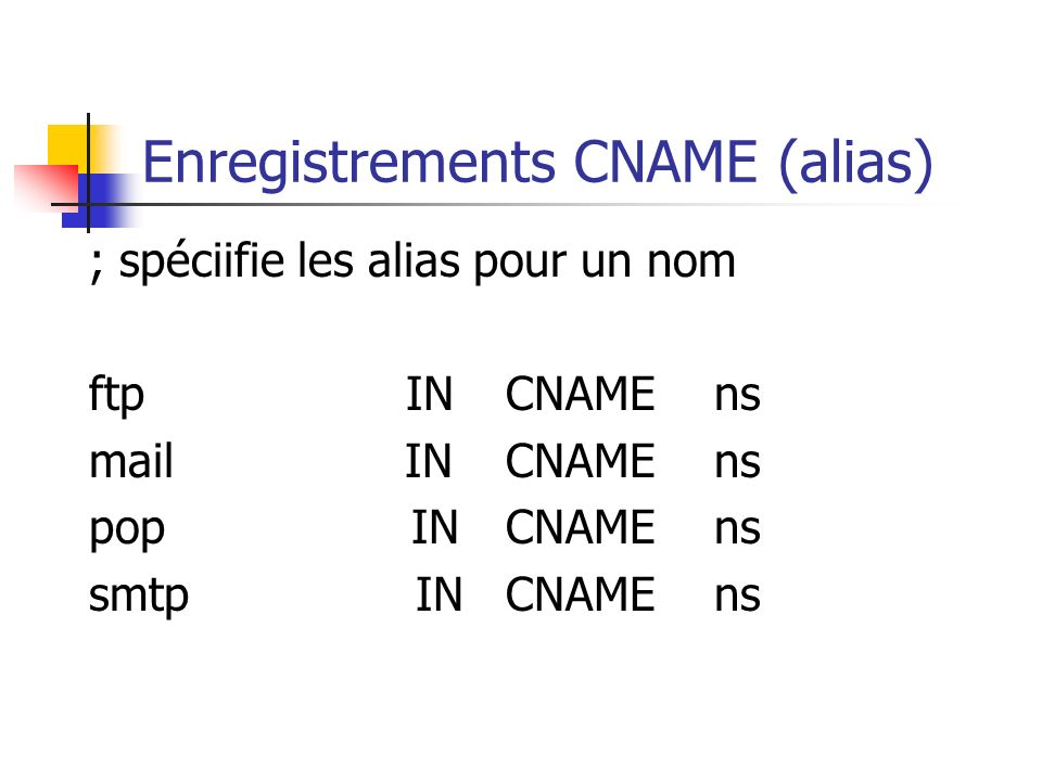Enregistrements CNAME (alias)