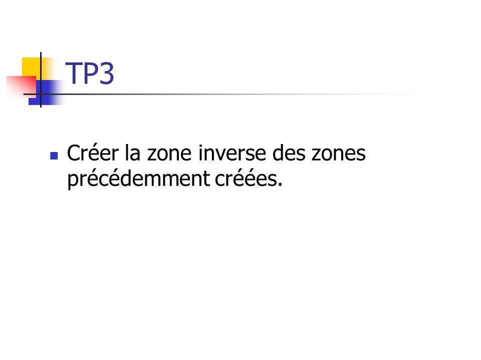 TP3 Créer la zone inverse des zones précédemment créées.