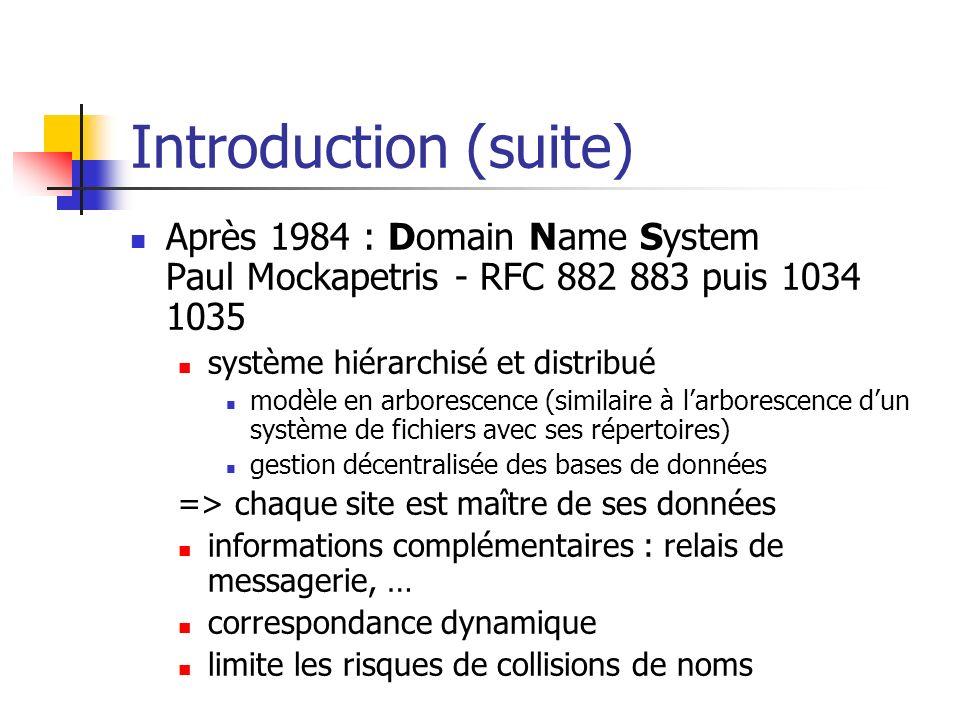 Introduction (suite)Après 1984 : Domain Name System Paul Mockapetris - RFC 882 883 puis 1034 1035. système hiérarchisé et distribué.